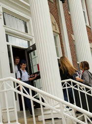 students entering building