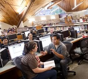 Photo of students at computers in Bedford Library
