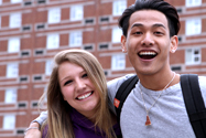 Photo of happy MCC students on the Lowell campus