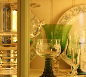 Glassware at historic homes