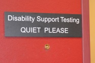 "DSS testing sign that reads ""Quiet Please"""