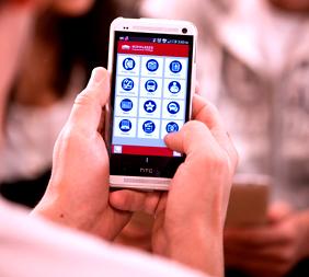 Photo of student using MCC Mobile app