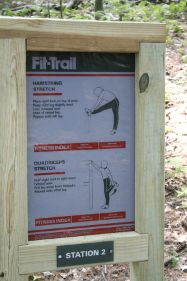 Photo of Fitness routine sign on the trail