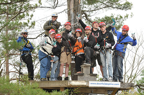 Students at zipline