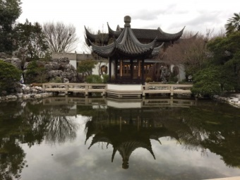 photo of building with pond