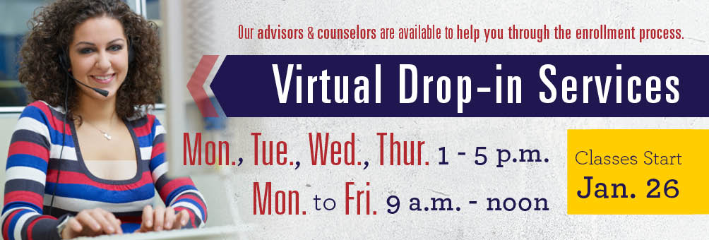 Photo of an advisor remotely helping a student - Virtual Drop-in Services. Our advisors & counselors are available to help you through the enrollment process.