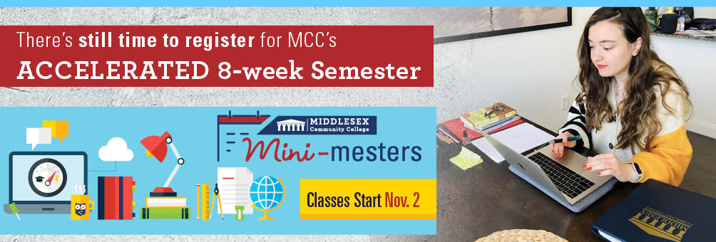 Photo of a student at a computer - There's still time to register for MCC's Accelerated 8-week mini-mester