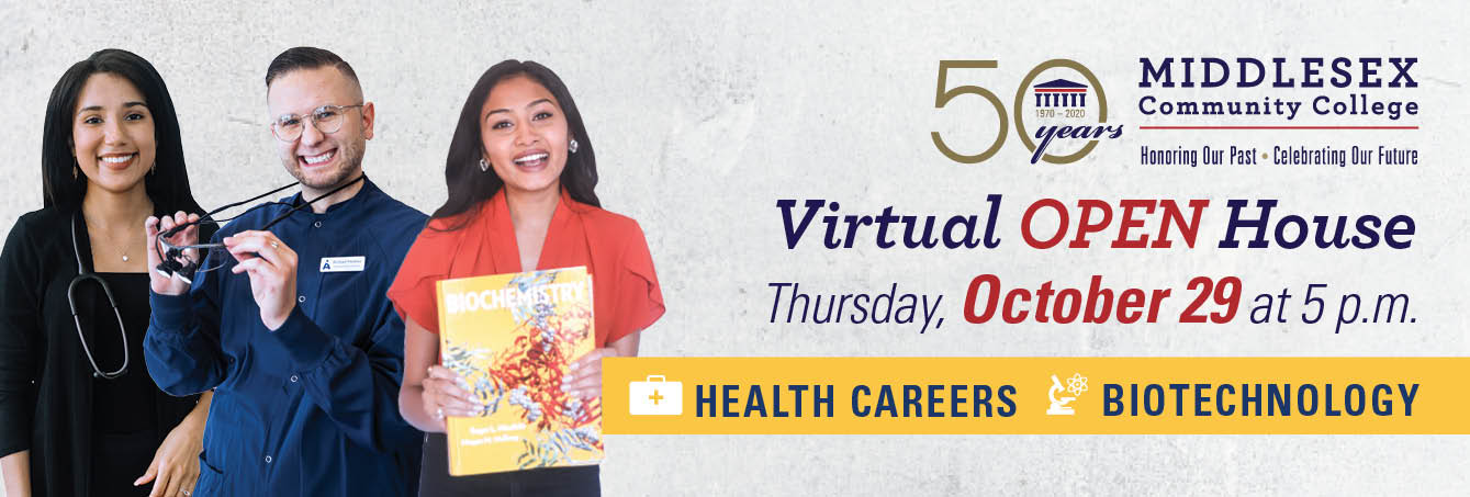 Photo of three MCC Students - Virtual OPEN House on Thursday, October 29 at 5 p.m. for Health Careers & Biotechnology