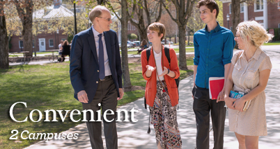 Photo of students walking with President Mabry on Bedford Campus