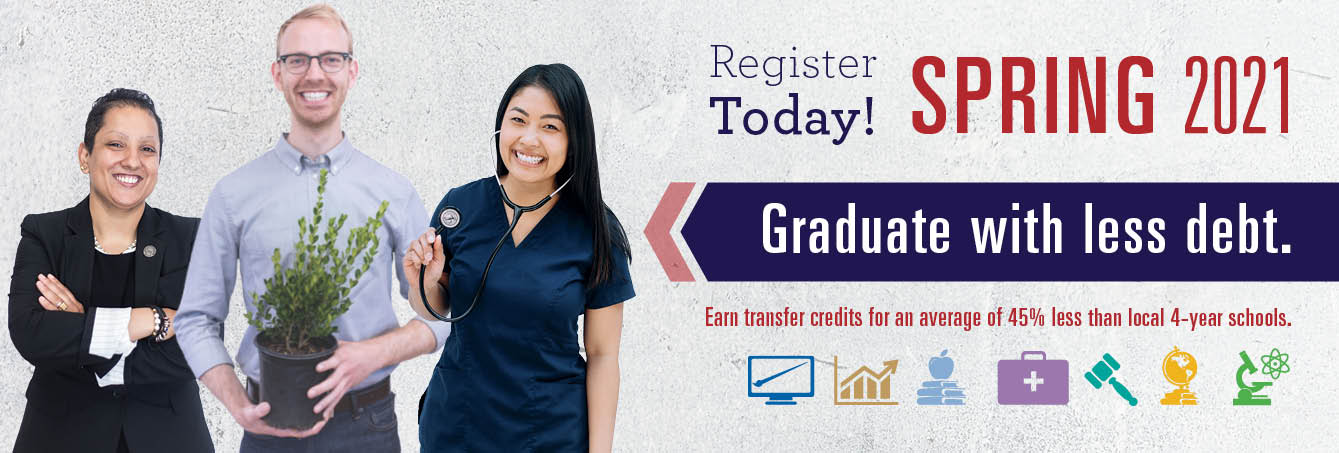 Photo of 3 MCC students - Register Today! Spring 2021 Graduate with less debt. Earn transfer credits for an average of 45% less than local 4-year schools.