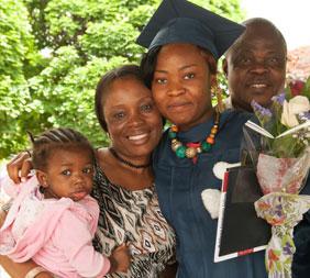 MCC Graduate & Family Celebrating