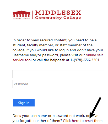 Middlesex Community College Log in space