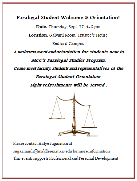 Paralegal Student Welcome and Orientation