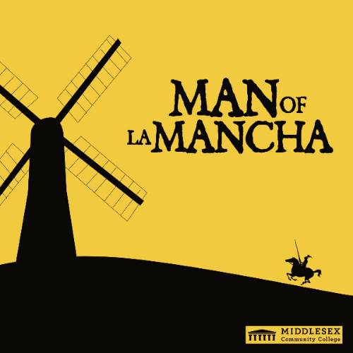 man of la mancha graphic poster with windmill and soldier on a horse