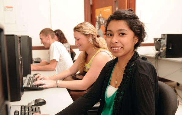 Photo of student at computer