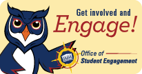 Get Involved and Engage button with owl