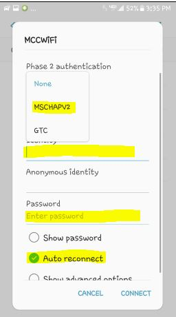 Android phase 2 authentication chooser MSCHAPv2