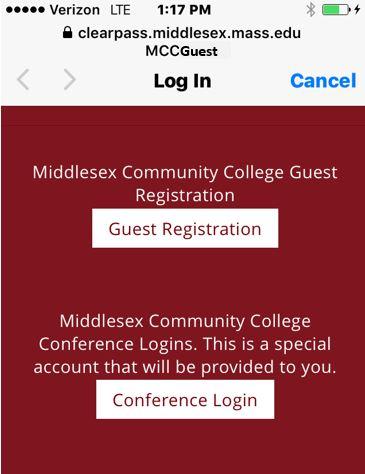 MCC Guest wifi login screen