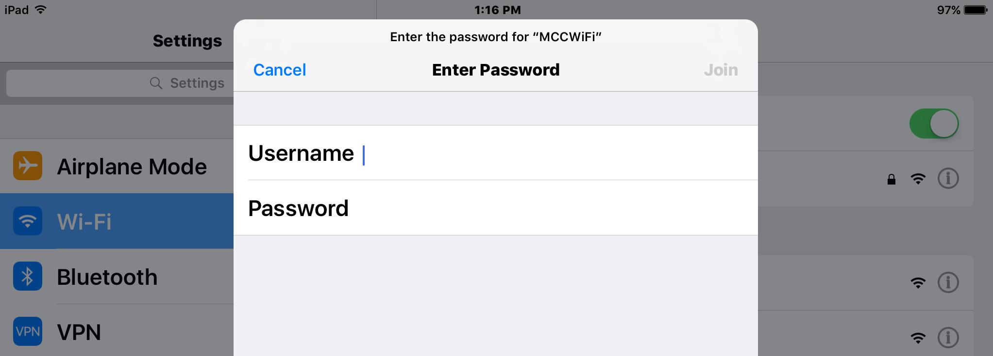 MCC WiFi secure login screen.