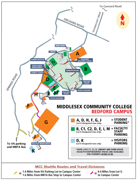 Bedford Campus Parking Map