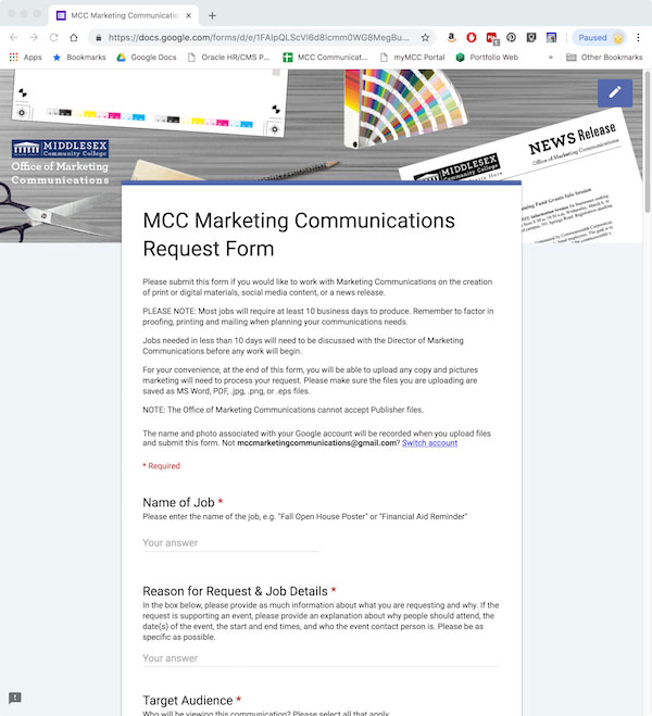 Marketing Communications Request Form