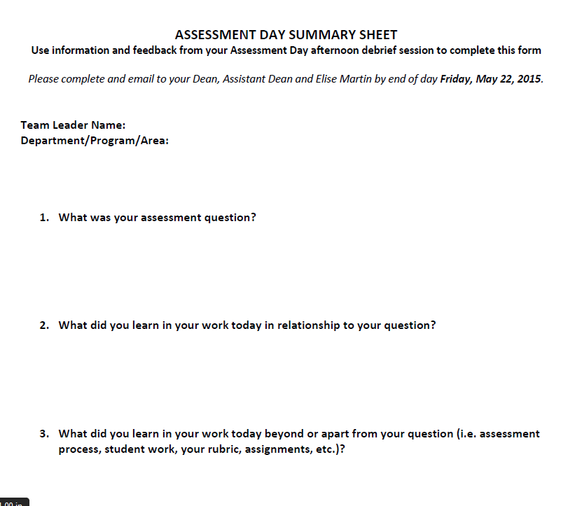 Assessment Day Summary Sheet